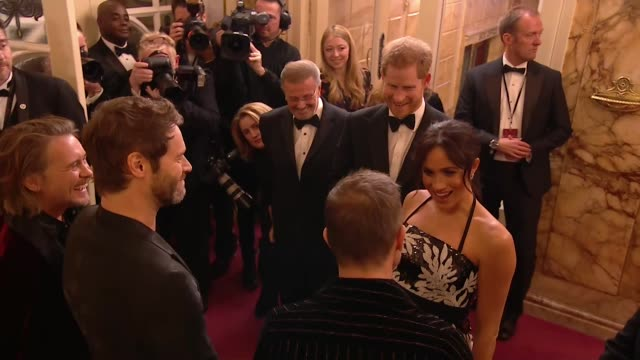 duke and duchess of sussex meet take that before royal variety performance at the london palladium - meghan duchess of sussex stock videos and b-roll footage