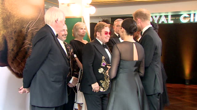 duke and duchess of sussex meet tim rice david furnish and elton john at lion king premiere at leicester square - elton john stock videos & royalty-free footage