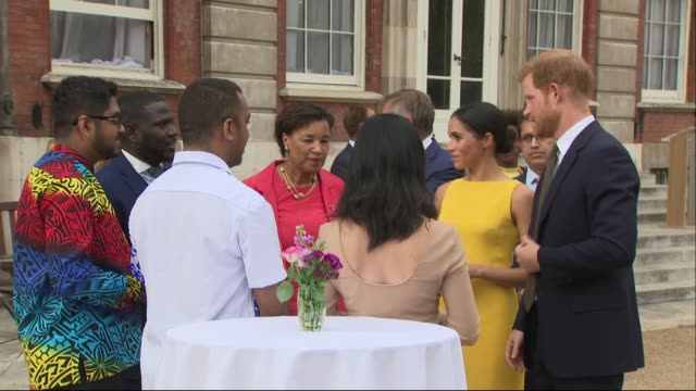 Duke and Duchess of Sussex meet young Commonwealth leaders at Marlborough House UK London Marlborough House Prince Harry Duke of Sussex and Meghan...