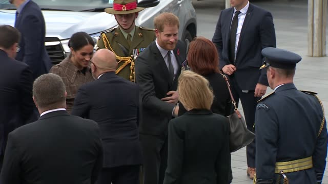 duke and duchess of sussex new zealand tour national war memorial walkabout new zealand wellington national war memorial people behind barriers... - harry meghan tour stock videos and b-roll footage