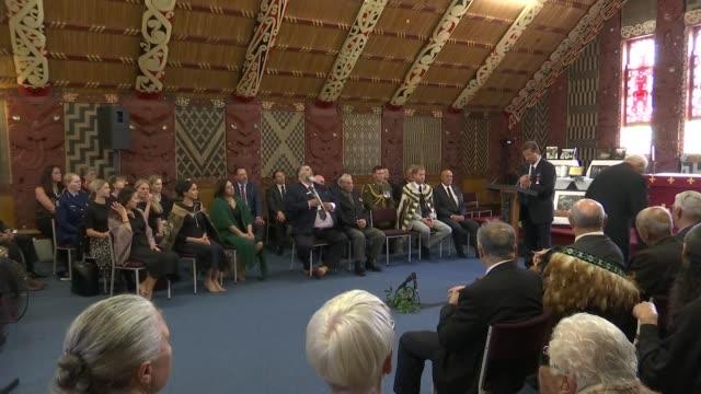 Duke and Duchess of Sussex New Zealand tour Te Papaiouru Marae visit NEW ZEALAND Rotorua Ohinemutu Prince Harry Duke of Sussex and others singing SOT...