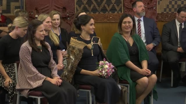 duke and duchess of sussex new zealand tour te papaiouru marae visit new zealand rotorua ohinemutu meghan duchess of sussex stood and given flowers /... - harry meghan tour stock videos and b-roll footage