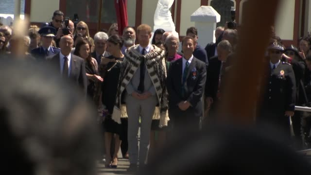 duke and duchess of sussex new zealand tour te papaiouru marae visit new zealand rotorua ohinemutu ext prince harry duke of sussex and meghan duchess... - meghan duchess of sussex stock videos and b-roll footage
