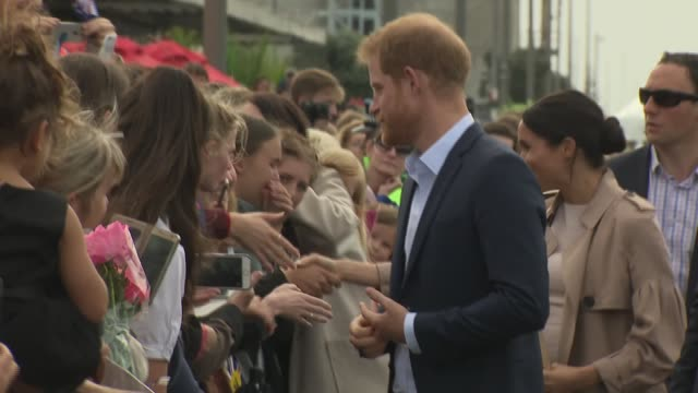 Duke and Duchess of Sussex New Zealand tour Viaduct Harbour walkabout NEW ZEALAND Auckland Viaduct Harbour Prince Harry Duke of Sussex and Meghan...
