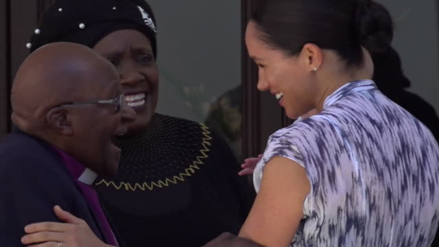 duke and duchess of sussex take baby son archie to meet archbishop desmond tutu and his daughter thandeka tutugxashe in cape town during their africa... - mother stock videos & royalty-free footage