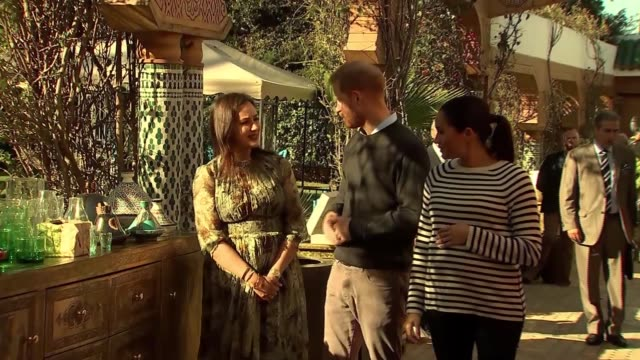 Duke and Duchess of Sussex taste Moroccan food and meet chef Moha Fedal MOROCCO Rabat Villa des Ambassadedurs EXT Prince Harry Duke of Sussex and...