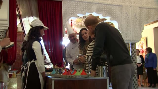 duke and duchess of sussex taste moroccan food and meet chef moha fedal morocco rabat villa des ambassadedurs photography*** prince harry duke of... - food stock videos & royalty-free footage