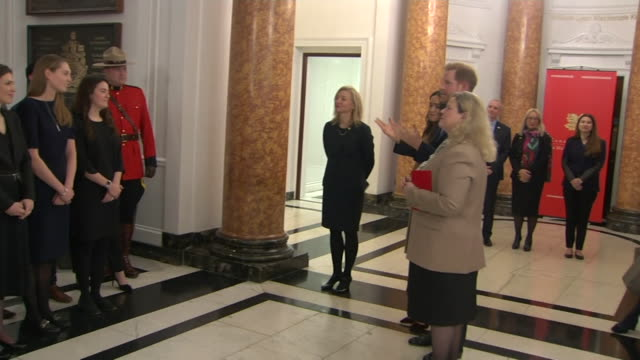 "duke and duchess of sussex thank staff at canada house for the hospitality shown to them during their festive break, prince harry jokes about meghan... - ""bbc news"" stock videos & royalty-free footage"