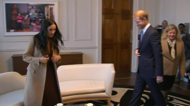 duke and duchess of sussex to 'step back' public reaction in windsor england london canada house int meghan duchess of sussex and prince harry duke... - canada house stock videos and b-roll footage