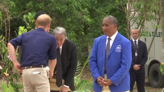tupou college visit tonga tongatapu toloa tupou college prince harry duke of sussex along and shaking hands with key figures from the college / harry... - meghan duchess of sussex stock videos and b-roll footage