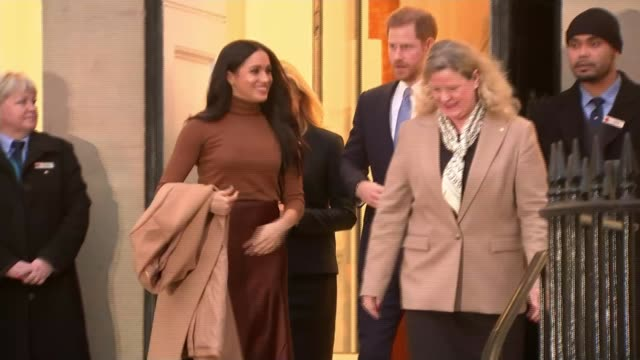 duke and duchess of sussex visit canada house ***flash london canada house harry and meghan down steps as leaving embassy alongside janice charette - canada house stock videos and b-roll footage