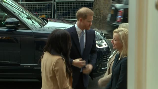 duke and duchess of sussex visit canada house england london canada house prince harry duke of sussex and meghan duchess of sussex shaking hands with... - canada house stock videos and b-roll footage