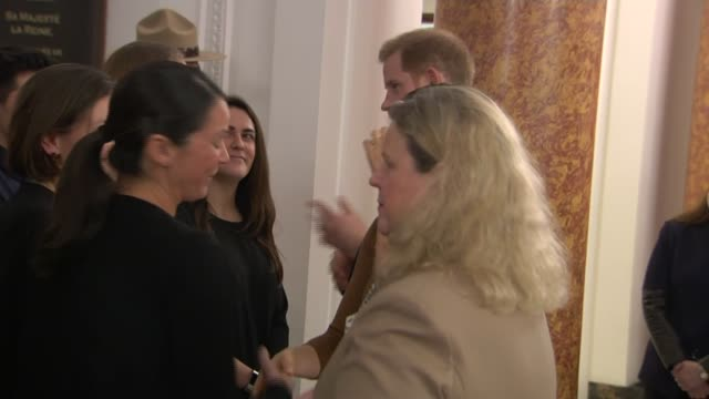 duke and duchess of sussex visit canada house england london trafalgar square canada house int prince harry duke of sussex and meghan duchess of... - canada house stock videos and b-roll footage