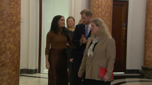 "duke and duchess of sussex visit canada house to thank then for the country's hospitality during their holiday there - ""bbc news"" stock videos & royalty-free footage"