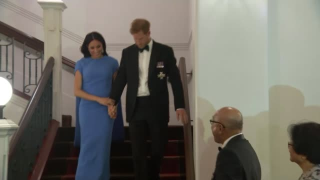 suva int prince harry duke of sussex and meghan duchess of sussex down staircase at dinner event - meghan duchess of sussex stock videos & royalty-free footage