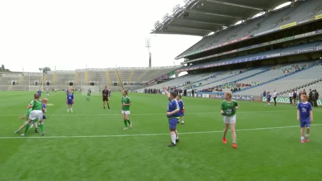 duke and duchess of sussex visit to ireland: couple visit croke park; republic of ireland: dublin: croke park: int gv trophy - liam maccarthy cup on... - fischietto video stock e b–roll