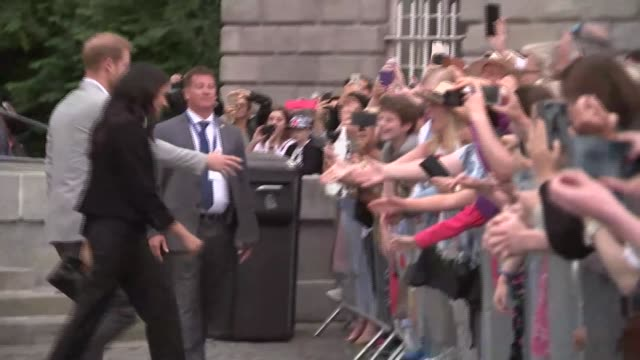 Duke and Duchess of Sussex visit to Ireland couple visit Trinity College Dublin REPUBLIC OF IRELAND Dublin Trinity College PHOTOGRAPHY*** Wellwishers...