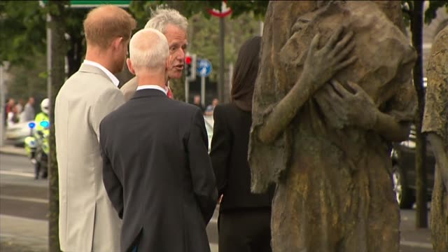 Duke and Duchess of Sussex visit to Ireland visit Famine Memorial REPUBLIC OF IRELAND Dublin Custom House Quay EXT Prince Harry Duke of Sussex and...