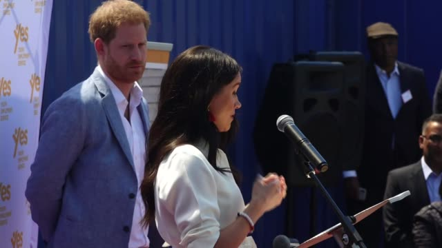 duke and duchess of sussex visit township in johannesburg south africa johannesburg tembisa township ext meghan duchess of sussex speech sot there is... - meghan duchess of sussex stock videos & royalty-free footage