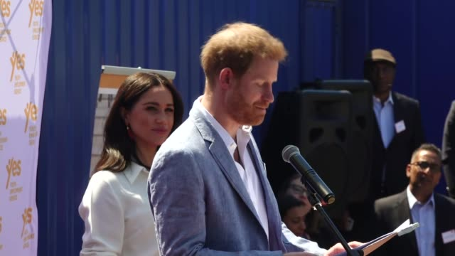 duke and duchess of sussex visit township in johannesburg south africa johannesburg tembisa township ext prince harry duke of sussex speech sot i've... - meghan duchess of sussex stock videos & royalty-free footage