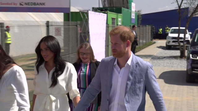 duke and duchess of sussex visit township on johannesburg on the last day of their african tour to discuss youth unemployment - harry meghan tour stock videos and b-roll footage