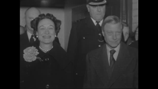 Duke and Duchess of Windsor arrive in London ENGLAND London Victoria Station EXT **This clip is Mute** CU Edward Duke of Windsor and Wallis Simpson...