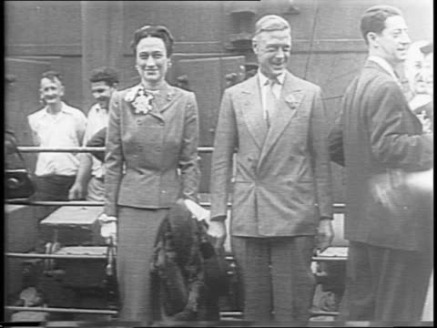 duke and duchess of windsor posing for photos and video onboard ss argentina shake hands with man and pose - wallis simpson stock videos & royalty-free footage