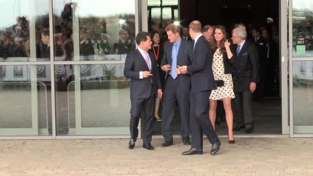 Duke Duchess of Cambridge Prince Harry depart at Leavesden Studios on April 26 2013 in Watford England