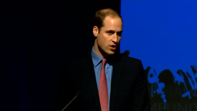 duke & duchess of cambridge three day visit: william meets obama / makes speech; prince william speech sot in criminal justice, interpol recently... - human stage stock videos & royalty-free footage