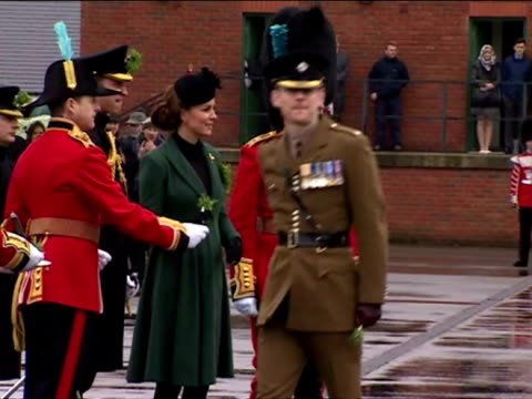 Duke Duchess of Cambridge visit the 1st Battalion Irish Guards at the St Patrick's Day Parade at Mons Barracks Aldershot at Mons Barracks on March 17...