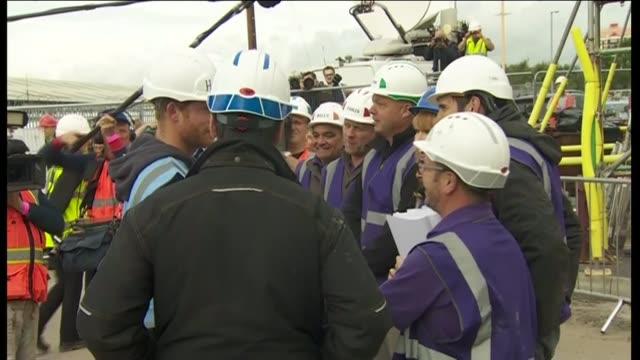 duke of cambridge and prince harry visit bbc's diy sos team england manchester ext prince william duke of cambridge and prince harry arriving wearing... - sos stock videos and b-roll footage