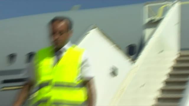 duke of cambridge arrives in jordan jordan amman marka military airport ext hussein bin abdullah crown prince of jordan arriving to welcome prince... - crown prince stock videos & royalty-free footage