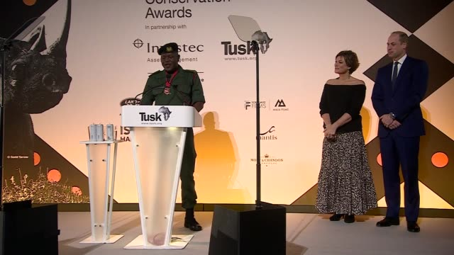 stockvideo's en b-roll-footage met duke of cambridge attends tusk conservation awards; england: london: leicester square: empire cinema: int kate silverton speech sot prince william on... - kate silverton