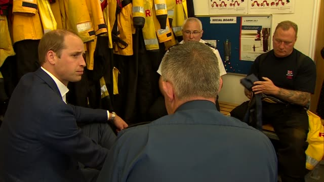 Duke of Cambridge highlights high number of male suicides More William chatting with lifeboat staff SOT / EXT Prince William leaving lifeboat station...
