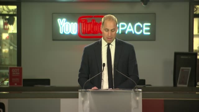 Duke of Cambridge launches campaign against cyberbullying William speech ENGLAND London Google Headquarters INT Prince William Duke of Cambridge...