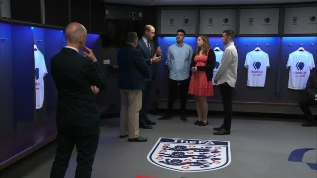 Duke of Cambridge launches campaign using football to start mental health conversation ENGLAND London Wembley Wembley Stadium INT Various shots of...