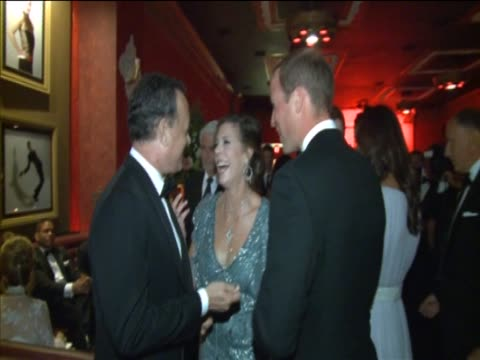 duke of cambridge talking to tom hanks and his wife rita wilson at bafta film industry event in california - peerage title stock videos & royalty-free footage