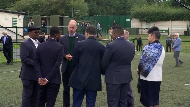 duke of cambridge visits hendon fc england london avenue park stadium ext prince william duke of cambridge talking to various members of mental... - avenue stock videos & royalty-free footage