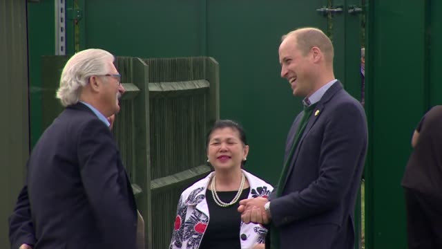 duke of cambridge visits hendon fc england london avenue park stadium ext prince william duke of cambridge arriving shaking hands with and chatting... - avenue stock videos & royalty-free footage