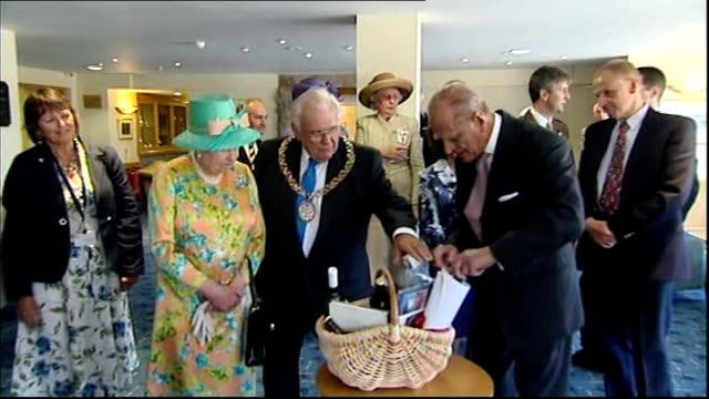 duke of edinburgh at royal scottish academy / queen makes first visit to scilly isles since 1967; queen and philip presented with basket of local... - isles of scilly stock videos & royalty-free footage