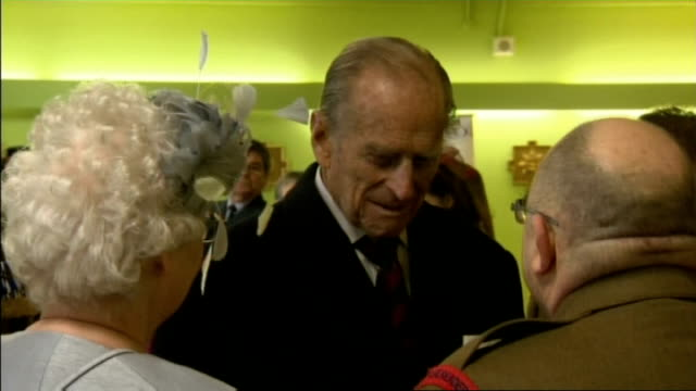 duke of edinburgh attends guards chapel service; ext prince philip and general lord dannatt departing building and down steps int **beware flash... - peerage title stock videos & royalty-free footage
