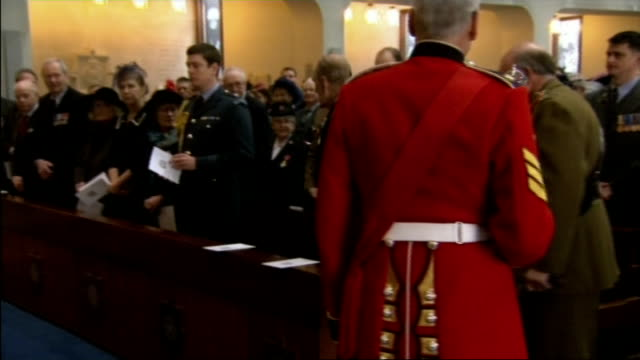 duke of edinburgh attends guards chapel service; int **music heard sot** prince philip, general lord dannatt and others arriving / congregation... - peerage title stock videos & royalty-free footage