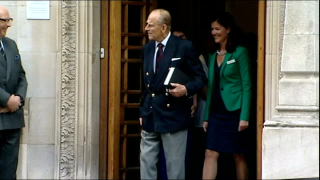 Duke of Edinburgh attends medal ceremony at Royal Society of Edinburgh LIB / R17061303 London London Clinic EXT Prince Philip leaves hospital...