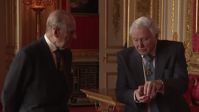 duke of edinburgh chats with david attenborough at the order of merit lunch at windsor castle - prince philip stock videos & royalty-free footage