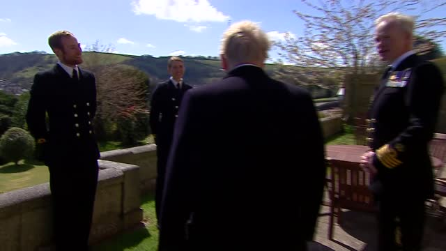 duke of edinburgh death: boris johnson attends military commemoration; england: devon: dartmouth: britannia royal naval college: ext boris johnson mp... - politics video stock e b–roll