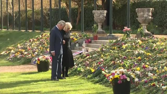 duke of edinburgh death: charles and camilla viewing flowers; england: london: westminster: marlborough house: ext messages of tribute for prince... - flower stock videos & royalty-free footage