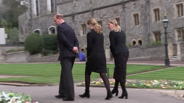 duke of edinburgh death: earl and countess of wessex view flowers at windsor castle; england: berkshire: windsor castle: ext various of prince... - carefree stock videos & royalty-free footage