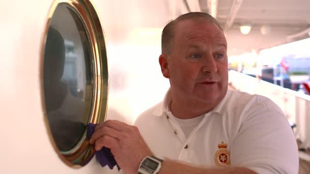 duke of edinburgh death: itv news special: 'a royal salute': pab 13.00 - 13.30; scotland: edinburgh: royal yacht britannia: ext former crew members... - measuring stock videos & royalty-free footage