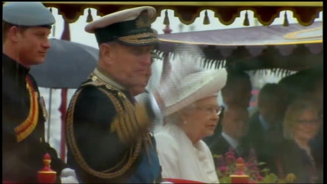 duke of edinburgh leaves hospital following bladder infection lib river thames prince philip waving on royal barge 'the spirit of chartwell' during... - bladder stock videos & royalty-free footage