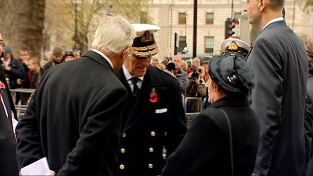 duke of edinburgh opens field of remembrance prince philip looks on as bugle plays to mark end of silence sot / duke of edinburgh talking to and... - bugle stock videos and b-roll footage